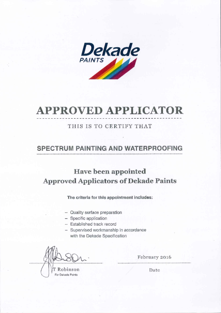 Spectrum Painters is an appoved applicator of Dekade paints