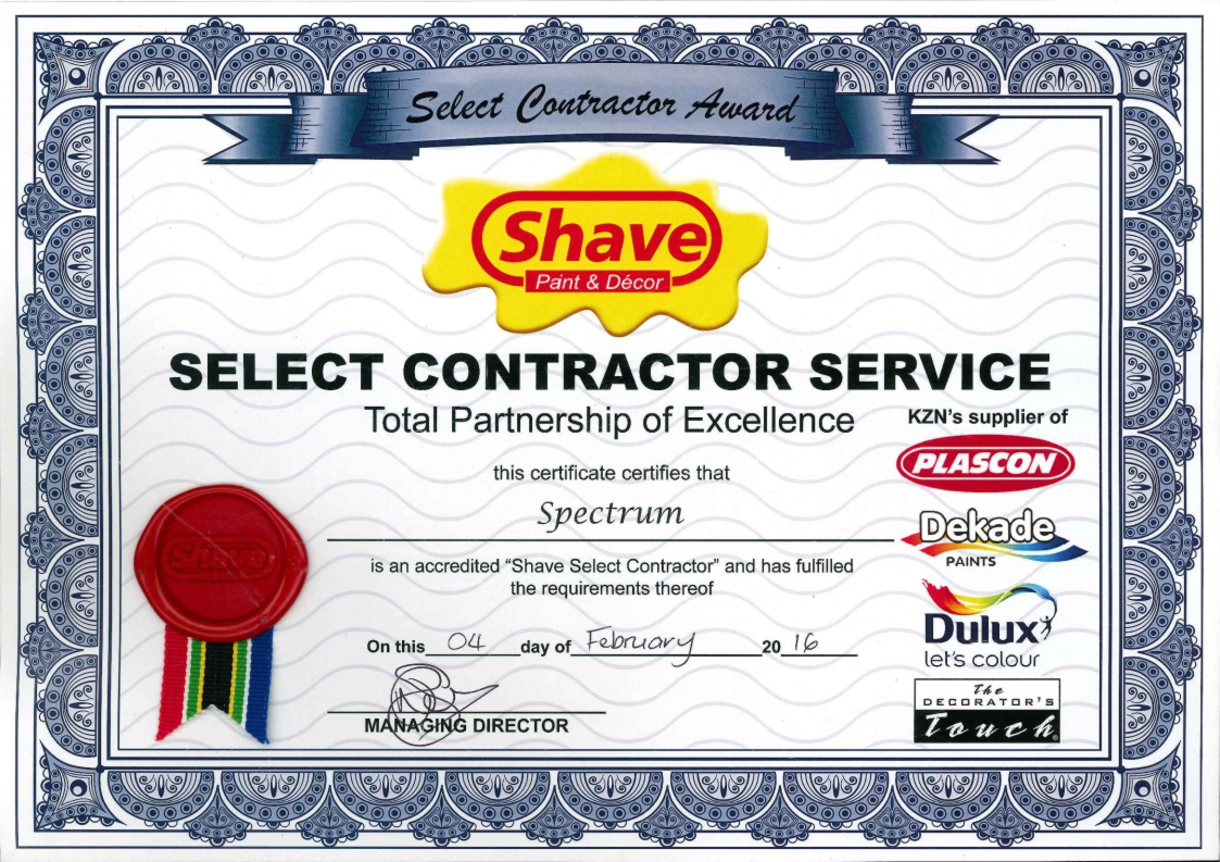 Spectrum Painters is a approved member of Shave